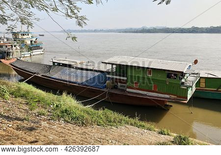 Boats On The Mekong River Near Chiang Saen City. Border Of Thailand And Laos. Area Of The Golden Tri