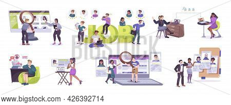 Job Search Set With Applicants Seeking Employment Being Interviewed Hired Have Their Application Rej