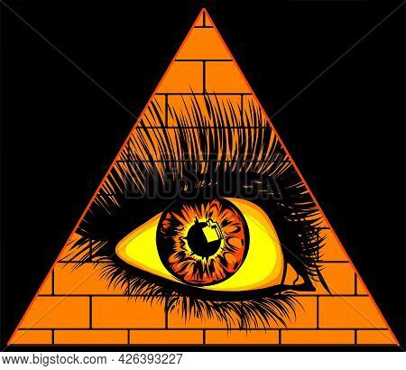 Eye Of Providence. All Seeing Eye In The Triangle On Top Of The Pyramid Masonic Symbol.