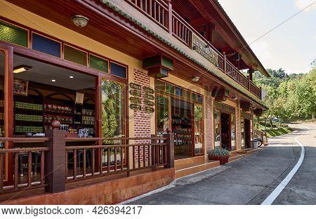 Mae Salong, Chiang Rai Province, Thailand - February 18, 2019: A Tea Shop Selling Local Teas Grown I