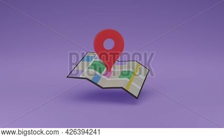 Location Pin Or Navigator Locator Icon On Folding Map 3d Rendering Illustration