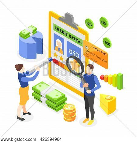 Credit Score Isometric Concept With Money Images And Loan Debtor Signing Report 3d Vector Illustrati
