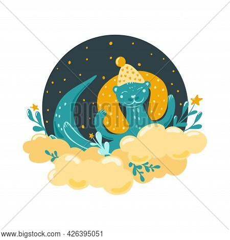 A Cute Otter Sleeps On A Cloud. Childrens Illustration In The Scandinavian Style. Bedroom Decor. Vec