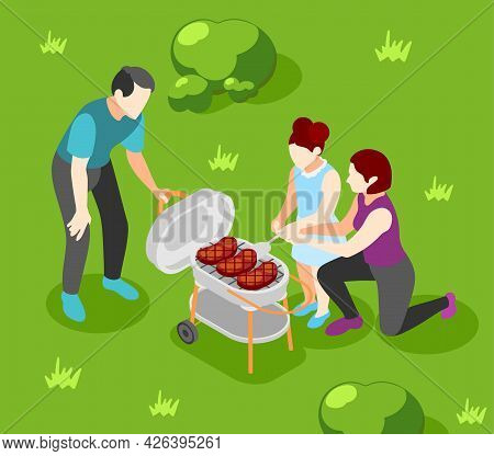 International Day Of Families Isometric Poster With Mother Father And Daughter Having Barbecue Party