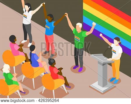 International Day Against Homophobia Isometric Vector Illustration With Group Of Lgbt Activists Stan