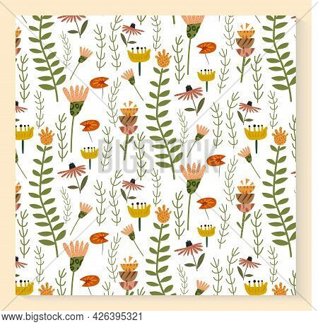 Abstract Plants Seamless Pattern With Hand Drawing Wild Field Herbs And Flowers. Colorful Botanical
