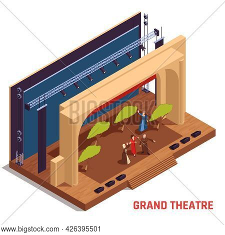 Grand Theatre And Stage Isometric Concept With Performance Symbols Vector Illustration
