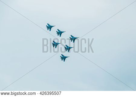Ufa, Russia - July 10, 2021: Sukhoi Su-30sm 31 Blue, Nato Code Name: Flanker-c, Jet Fighter Of Russi