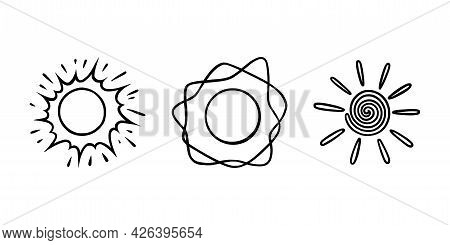 Handdrawn Suns Set. Suns Shining With Beams In Doodle Style. Black And White Sketch Vector Illustrat