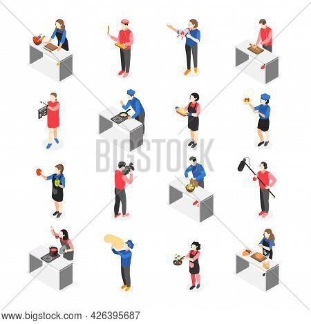 Cooking Show Isometric Colored Icon Set Cooking On Camera For Tv Shows Vector Illustration