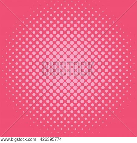 Halftone Background Pattern In Comic Style With Dots. Red Wallpaper With Radial Halftone. Vector Ill