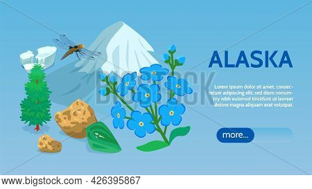 Alaska Travel Sightseeing Tours Online Isometric Webpage Banner With Sea Ice Mountain Icecap Sitka S