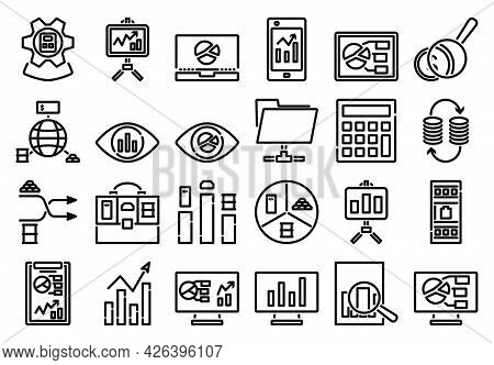 Analytics Icon Set. Bold Outline Design With Editable Stroke Width. Vector Illustration.