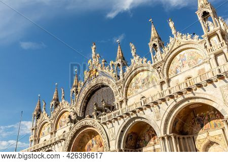 Cathedral San Marco At St Marks Square In Venice, Italy Under Blue Sky