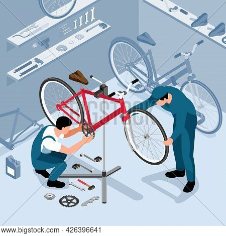 Bicycle Maintenance In Workshop Isometric Background With Two Workers Installing Bike Parts After Re