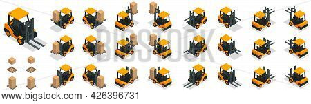 Isometric Modern Warehouse Icon Set Boxes Storage Pallets And Yellow Storage Car From Different Angl