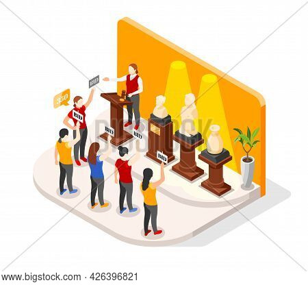 Auction Isometric Composition With Luxury Booth And Antique Goods On Pedestals With Human Characters