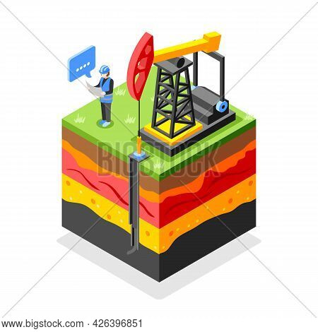 Geodesy Isometric Composition With Profile View Of Ground With Layers And Pump Unit With Human Worke