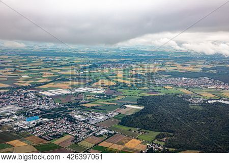 Aerial Of Gross Gerau In Hesse With Agricultural And Industry Production With Cloudy Sky