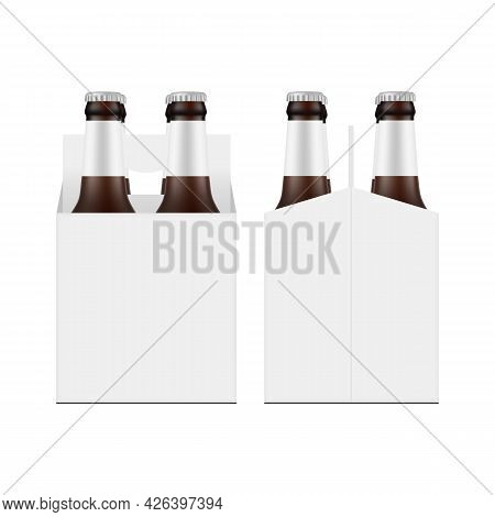 Carrier Packaging Box Mockup With Four Brown Glass Beer Bottles, Front And Side View, Isolated On Wh