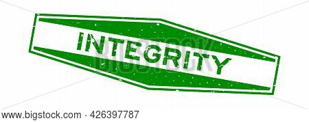 Grunge Green Integrity Word Hexagon Rubber Seal Stamp On White Background