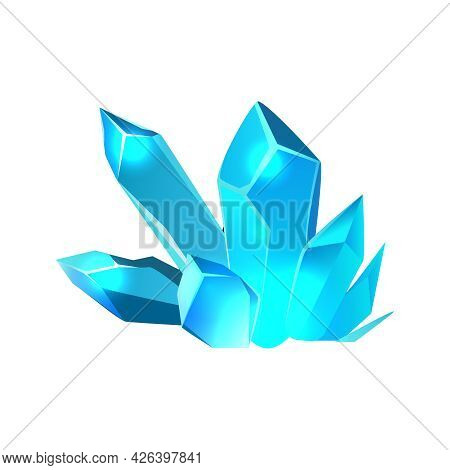 Cartoon Minerals In Blue Color For Game Interface Vector Illustration