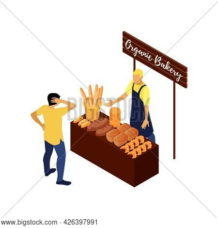 Organic Bakery Market Stall With Vendor Selling Fresh Bread And Pastry Isometric Vector Illustration