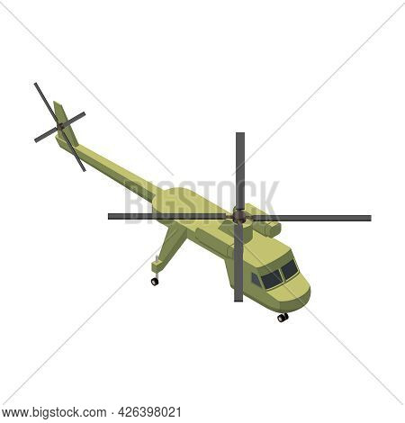 Military Air Forces Isometric Icon With Color Sikorsky Helicopter Vector Illustration
