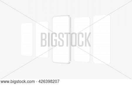 Clay Phone Mockup With Blank App Screens, Side View. Vector Illustration
