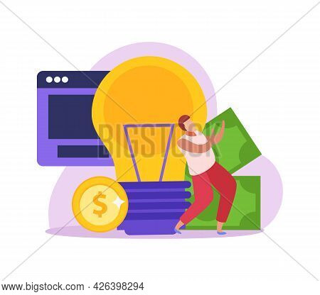 Crowdfunding Flat Icon With Light Bulb And Character Collecting Money Vector Illustration