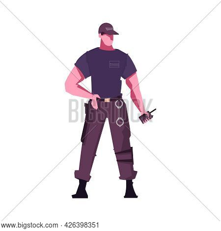 Security Service Guard In Uniform With Radio Tranceiver And Handcuffs Flat Vector Illustration