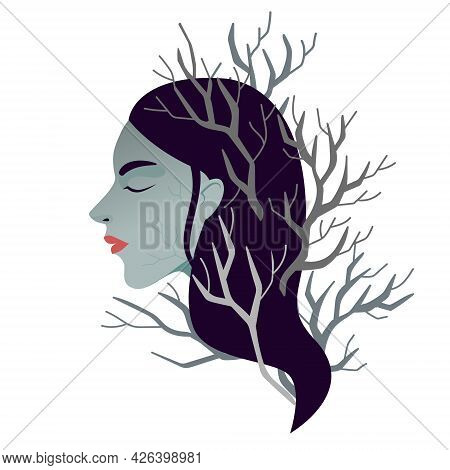 Woman Burnout. Female In Depression And Destructive Mental Health. Unresourceful State Of Minde And