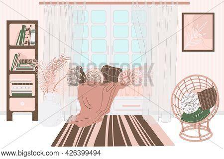 Living Room Interior, Hand Drawn Scandinavian Style. Home Interior With Sofa, Book Shelf, Wicker Cha