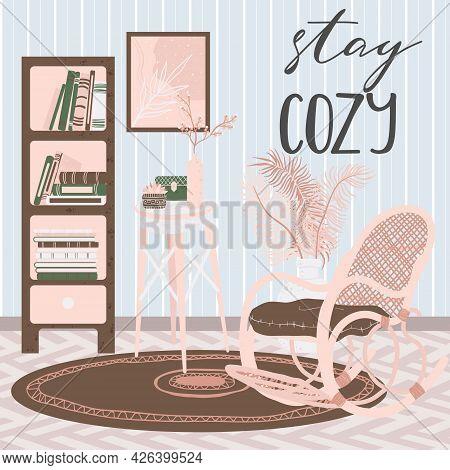 Living Room Interior, Hand Drawn Scandinavian Style. Background With Handwritten Slogan Stay Cozy. H