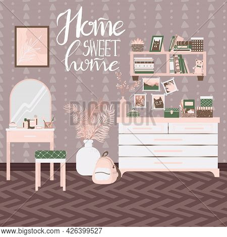 Bedroom Interior, Hand Drawn Scandinavian Style. Background With Handwritten Slogan Home Sweet Home.