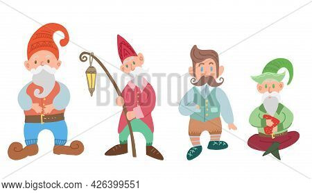 Set Of Various Gnomes Isolated From The Background. Hand Drawn Cartoon Fairy Character. Leprechauns