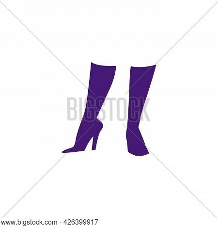 Beautiful Hand Drawn Woman Foot On High Heels Boots Silhouette Isolated. Vector Flat Illustration. F