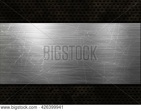 Grunge style perforated metallic texture with scratched metal plate
