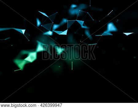 3D render of a network communications background with low poly plexus design