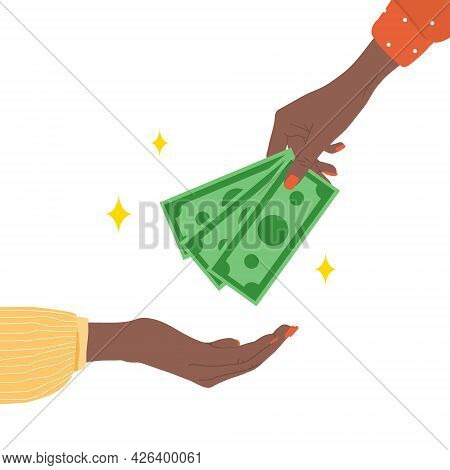 Transfer Money. African Female Hand Giving Green Bills. Donation, Charity Or Payday Concept. Financi