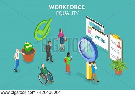 3d Isometric Flat Vector Conceptual Illustration Of Workforce Equality, Human Resources Hiring Diver