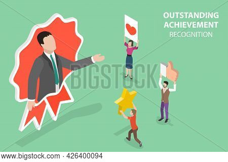 3d Isometric Flat Vector Conceptual Illustration Of Outstanding Achievement Recognition, Best Candid