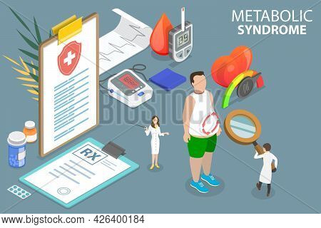 3d Isometric Flat Vector Conceptual Illustration Of Metabolic Syndrome, Combination Of Diabetes, Hig