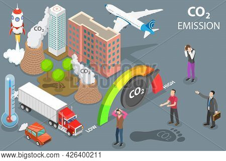 3d Isometric Flat Vector Conceptual Illustration Of Co2 Emission, Global Air Pollution