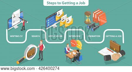 3d Isometric Flat Vector Conceptual Illustration Of Steps To Getting A Job, Data Visualization With