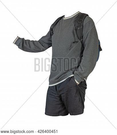 Denim Blue  Backpack,dark Gray Sweatshirt With A Hood,black Shorts Isolated On White Background. Spo
