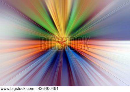 Abstract Radial Blur Zoom Surface In Blue,green Orange And White Tones. Abstract Multicolored Backgr