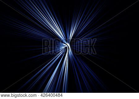 Abstract Surface Of Radial Blur Zoom Blue Tones On A Black  Background. Abstract Blue-black Backgrou