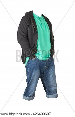 Denim Dark Blue Shorts,green T-shirt With Collar On Buttons And Black Sweatshirt With Zipper And Hoo