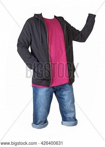 Denim Dark Blue Shorts,burgundy T-shirt  And Black Sweatshirt With Zipper And Hood  Isolated On Whit